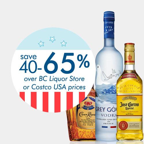 save 40-65% on liquor